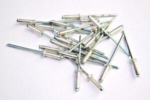 3.2mm x 12mm Pop Rivets Aluminium/Steel with Dome Head