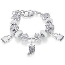 925 Silver Plated Rhinestone Crystal European Charm Beads Bracelet Cuff Bracelet
