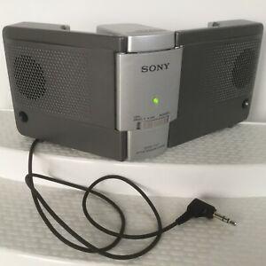 Sony Active Speakesr SRS-T57 Mini Battery Power Portable Headphone Plug Tested
