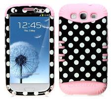 KoolKase Hybrid Silicone Cover Case for Samsung Galaxy S3 - Polka Dots Black