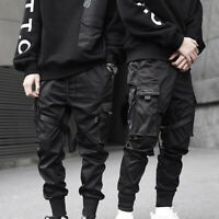 Mens Casual Loose Harem Pocket Cargo Trousers Baggy Punk Pants Military Overalls