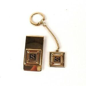 Money Clip with matching Key Chain Gold Tone Monogrammed S Vintage Swank