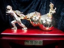 FSH256 Feng Shui Copper Monkey Pulling Gourd Sack - Wealth Enhancer 28cm