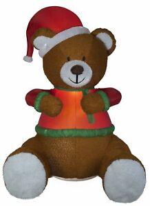 "Huge 101"" Christmas AIRBLOWN plush fuzzy teddy bear w/ santa hat INFLATABLE Yard"