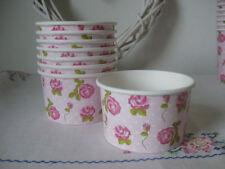 8 PAPER ICE CREAM BOWL SWEET TUB VINTAGE ROSE PINK PARTY TABLEWARE AFTERNOON TEA