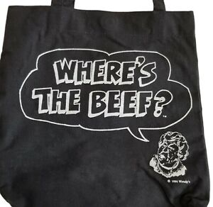 """1984 Wendys """"Where's The Beef?"""" Vintage Black Canvas Tote Bag Plastic Lined"""