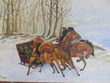 "VINTAGE 3 HORSE SLEIGH OIL PAINTING 15"" X 30"" FINE ART SIGNED SNOW PEOPLE TREES"