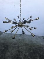 Vintage Sputnik Lamp Mid Century Large 24-Bulb! Light Fixture Hanging Brass