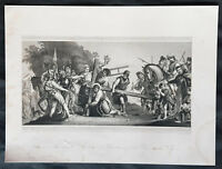 1840 Paolo Veronese Antique Print Christ Carrying Cross to Golgotha or Calgary