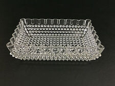 Antique rectangular pressed glass dish, Pointed Hobnail, Bryce Bros. 1870's