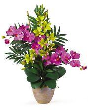 Double Phalenopsis/Dendrobium Silk Flower Arrangement- Orchid/Green 1071-OG NEW