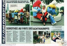 Coupure de presse Clipping 1984 (2 pages) Dorothée au pays des Schtroumpfs