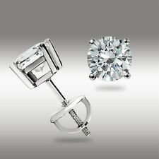 .50 Ct Round Cut Solitaire Stud Earrings Basket Set 14k White Gold Screwback