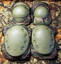 Advanced Elbow and Knee Pads Woodland Camo Water Resistant Airsoft Paintball