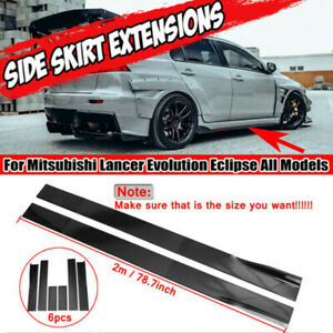 78.7'' Side Skirt Extension Rocker Splitter Gloss For MITSUBISHI LANCER EVO X 10
