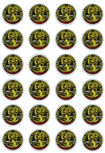 24 x Edible Cupcake Toppers - Rice / Wafer Paper - Perfect for Cobra Kai Fans