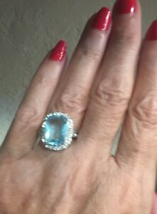 GORGEOUS!! 6.4 Ct Aquamarine RingW/Sparkling White Sapp Halo 925! Free Earrings!