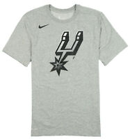 NIKE San Antonio Spurs Logo T-Shirt sz L Large Heather Gray Black Basketball NBA