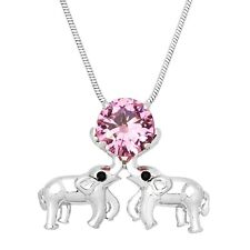 """Elephant Charm Pendant Necklace - Sparkling Cubic Zirconia Crystal - 17"""" Chain"""