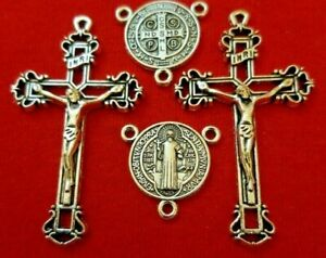 2 ROSARY CENTER & 2 CRUCIFIX  CROSS SILVER PLATED  Rosaries Parts