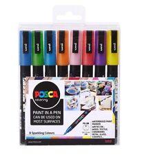 Uni Posca MARKER Bolígrafo PC-3M - Fina 1.5 Mm-Conjunto de 8 Colores Brillo Chispeante
