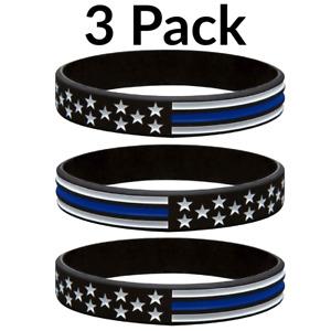 Thin Blue Line American Flag Police Bracelet - Blue Lives Matter 3 Pack