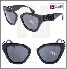 6c8fda3927b PRADA ORNATE BEAD Embellishment PR10TS Shiny Black Silver 10T Mirror  Sunglasses
