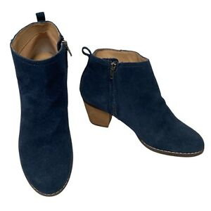 LANDS'END Womans Navy Blue Harris Suede Mid Heel Ankle Booties Size 5 UK