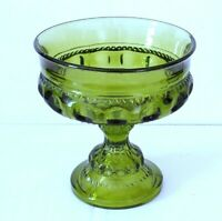 Indiana Colony Glass Green Kings Crown Compote Footed Candy Dish