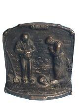 New ListingVintage Book Ends Antique Bronze Cast Iron Angelus Farmer's Prayer