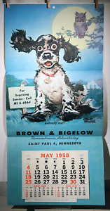 "VTG 1958 CALENDAR ALBERT STAEHLE COCKER SPANIEL BROWN BIGELOW ART PRINT 16""x 33"""