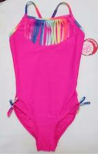 NWT SO Girls One Piece Swimsuit Pink with Multi Color Fringe Accent Size 14