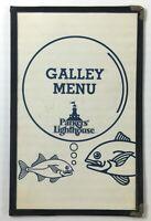 1980's Vintage GALLEY Menu PARKER'S LIGHTHOUSE Restaurant Long Beach California