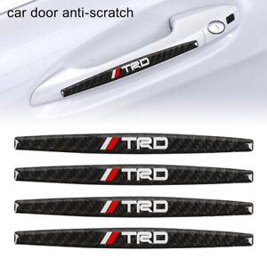 4PCS TRD Carbon Fiber Anti Scratch Badge Car Door Handle Cover Trim