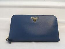 PRADA saffiano blue  leather zip around wallet