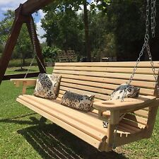 6ft Handmade Cypress Porch Swing with Cup Holders - Handmade in Louisiana