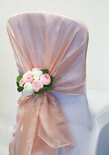 SILK ORGANZA CHAIR SASHES HOODS AND TABLE RUNNERS 7 COLOURS WEDDING CHAIRS EVENT