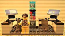 Lego Custom OFFICE Desk businessman Lawyer. Computers. water cooler. minifigure