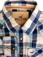 HOLLISTER Shirt Mens 17 L Blue & White Check