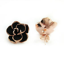 Fashion Jewelry - 18k Rose Gold Plated Rose Stud Earrings (FE422)