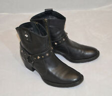 BORN Black Leather Laila Biker/Western Ankle Boots Studded US Size 7 Euro 38