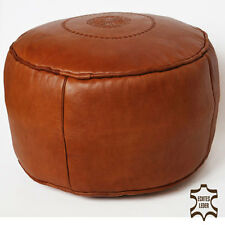 marocain cuir Coussin de siège tabouret fait à la main Ottoman rond sale-cognac