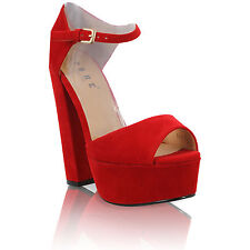 NEW WOMENS LADIES ANKLE STRAP PLATFORM HIGH HEEL PEEP-TOE SHOES SIZE 3-8