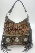 Raviani Persian Carpet Bag W/ Turquoise Leather & Crystal Conchos  (MADE IN USA)