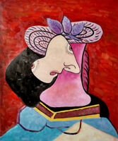 Lady in a Straw Hat Hand Painted Pablo Picasso Oil Painting On Canvas Wall Art