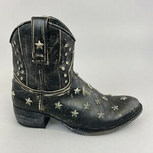 Sendra 10600 Dark Grey Black Ankle Zip Studded Cowboy Western Hippie Boots UK5