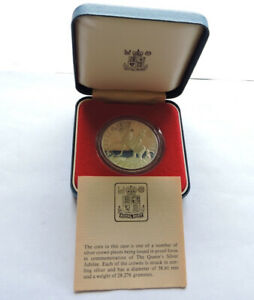 1977 ROYAL MINT CROWN 25p SILVER PROOF QUEEN'S SILVER JUBILEE CASED WITH COA