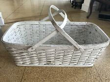 "30"" LARGE Rectangular Woven Gathering Basket 2 Handles Rustic Shabby chic White"