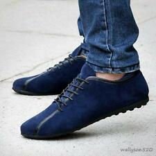 Mens Suede leather Casual Lace up flat driving Moccasins loafer Boat Shoes Size