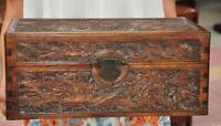 Old China dynasty Huanghuali Wood Carve Dragon Phoenix Storage Jewelry Box Boxes
